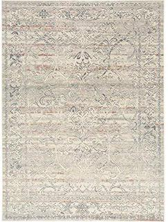 """Home Dynamix Shabby Chic Pastel Corrina Area Rug, Cotton Blend 7'10""""x10'2"""", Gray Blue/Taupe/White Medallion (online $312)"""
