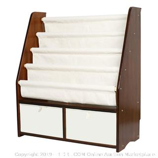 Bookshelf Kids Sling Book Rack with Two Storage Boxes and Toys Organizer Shelves Natural Solid Wood Baby Bookcase (Walnut Color) online $92