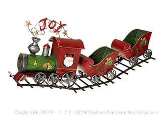 "29.5""L Metal Holiday ""Joy"" Train With Sleigh Cars in Traditional Vintage Colors (Online $60)"