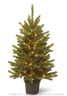National Tree 4 Foot Kensington Tree with 100 Clear Lights in Green Growers Pot (KNT3-307-40) (Online $85)