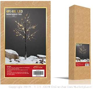 Lightshare 4 Feet Snow Dusted Tree, 48 LED Lights, Warm White, For Holiday Decorations (Online $49)