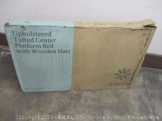 Upholstered Tufted Center Platform Bed w/ Wooden Slats Size Queen