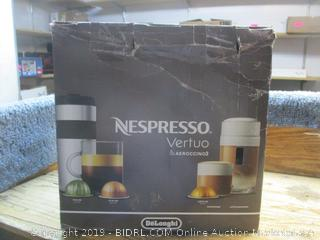 Nespresso Vertuo & Aeroccino3 coffeemaker -- powers on