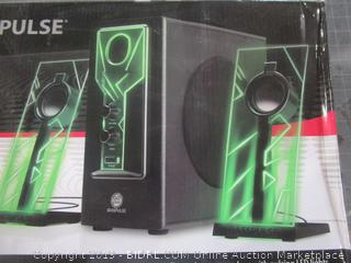 Pulse 2.1 Channel stereo speakers with pulsing LED lights