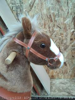 PonyCycle Official Ride-On Horse (Online $229) No Battery No Electricity Mechanical Pony Brown with White Hoof Giddy up Pony Plush Walking Animal for Age 4-9 Years Medium Size - N4151