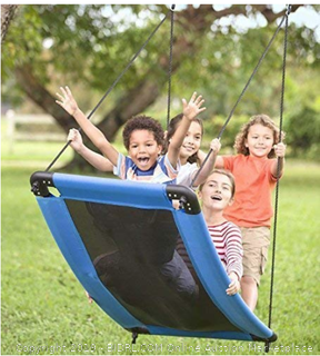 """HearthSong Skycurve Large Platform Rope Tree Swing Multiple Kids Weatherproof Easy Installation 60"""" Lx32'W Holds 400 Lbs Active Toy Backyard Toys"""