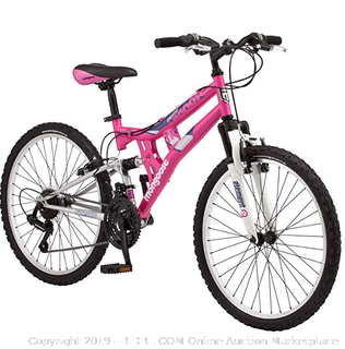 Mongoose Exlipse Full Dual-Suspension Mountain Bike (Online $189)  Featuring 15-Inch/Small Steel Frame and 21-Speed Shimano Drivetrain with 24-Inch Wheels, Kickstand Included, Pink