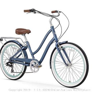 "sixthreezero EVRYjourney Women's 7-Speed Step-Through Hybrid Alloy Cruiser Bicycle, (Online $400) Navy w/Brown Seat/Grips, 26"" Wheels/ 17.5"" Frame"