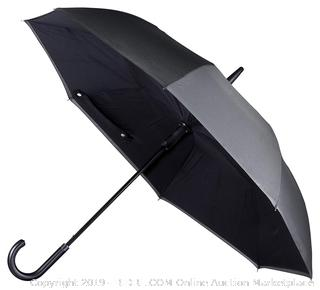 ANYWEATHER-Reversible Inverted Automatic Open Umbrella Leather J Handle, Large, Charcoal Grey