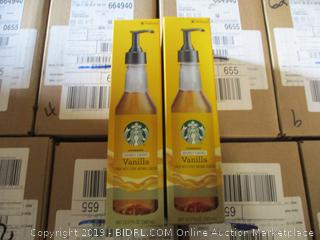 Starbucks Naturally Flavored Vanilla Syrup. Lot of 2 12Oz Bottles
