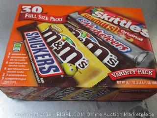 Snickers, M&M's, Skittles