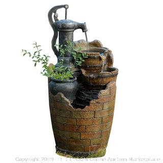 Glenville Water Pump Cascading Water Fountain – Solar-Power (online $131)