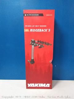 Yakima ridgeback tilts away hitch bike rack 5 bikes capacity (online $279)