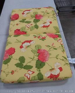 Pillow Perfect Risa Lemonade 44 in. Wicker Loveseat Cushion (Online $40)