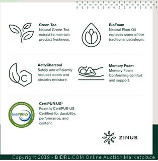 "zinus (FULL) 8"" Memory Foam pressure relief green tea mattress"