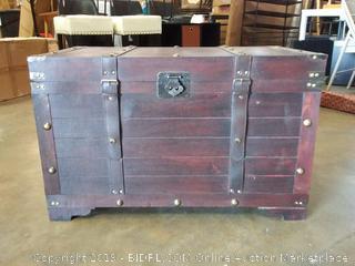 Antique Cherry Large Wooden Storage Trunk - Vintiquewise