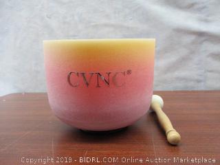 CVNC 8 Inch E Note Yellow Rainbow Colored Solar Plexus Frosted Quartz Crystal Singing Bowl