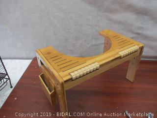 Bamboo toilet stool with foot massage rollers