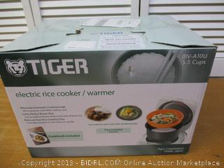 Tiger 5.5-Cup Micom Rice Cooker with Food Steamer and Slow Cooker, White
