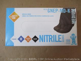 The Safety Zone - Nitrile Gloves - Medium - Black - Box of 100