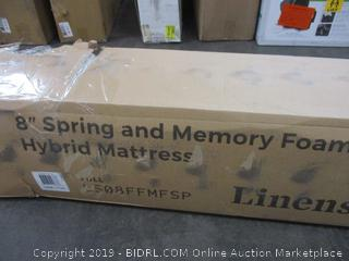 "8"" Spring and Memory Hybrid Mattress Size Full (Box Damaged)"