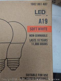 EcoSmart 60-Watt Equivalent A19 Non-Dimmable LED Light Bulb x 3 pack (12 bulbs total) Total Value $40