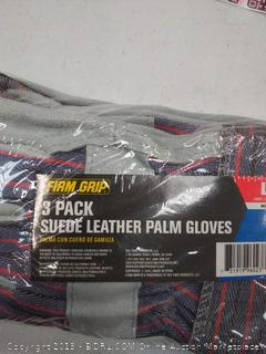 Firm Grip Leather-Palm Large Gloves 3-Pairs L Multi Purpose Leather (2 packs of 3 gloves)