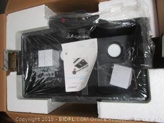 Artika Double Bowl Black Granite Sink Black (cracked, please preview) (retail $379)