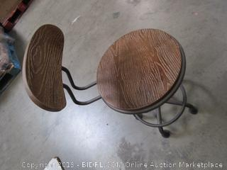 Brown Wood Metal Stool Chair