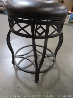 Brown Leather Metal Stool