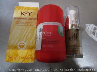 Misc. Lot KY Warming Liquid & Elf Makeup