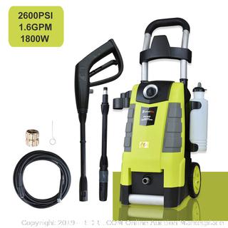 Electric Pressure Washer 2600PSI 1.6GPM Electric Power Washer with Spray Gun 25ft High Pressure Hose Adjustable Nozzle (online $129)