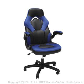 OFM Essentials Collection Racing Style Bonded Leather Gaming Chair, in Blue (online $116)