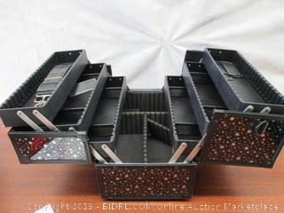 "Makeup Case 6 Trays Large 14"" x 8.5"" x 11"" Train Cases Cosmetic Organizer Storage Box by Joligrace - Star Pattern"