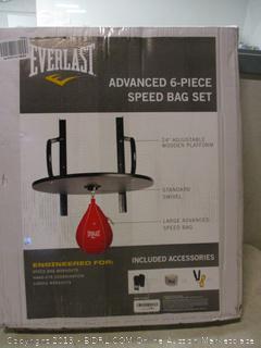 "Everlast advanced 6-pc speed bag set, 24"" adjustable wooden platform"