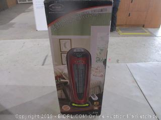 Oscillating Tower Ceramic Heater Powers On