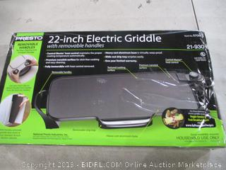 Presto 22-Inch Electric Griddle Powers On