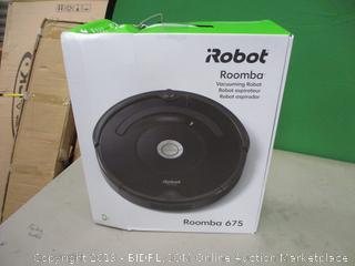 Robot Roomba Vacuuming Robot Powers On