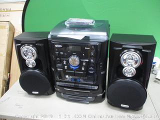 Jensen Bluetooth 3-Speed Stereo Turntable  3CD Changer music System with Dual Cassette Deck Powers On