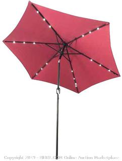 Solar Powered LED Lighted Outdoor Patio Table Umbrella Waterproof Polyester with Tilt Adjustment 8 x 9 Feet Burgundy