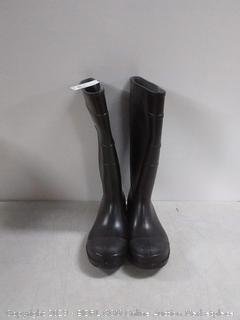 stansport 16 inch black PVC knee boot plain Toe with Comfort lining size 8