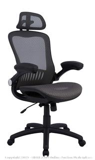 amazonbasics adjustable high back mesh chair with flip-up arms and headrest Gray (online $139)