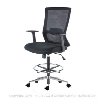 sunon mid-back black mesh drafting chair (online $239)