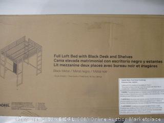 Full Loft Bed With Black Desk and Shelves