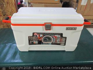 Igloo Super Tough STX Cooler, 72-Quart, White/Orange