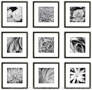 Gallery Perfect 9 Piece Black Square Photo Frame Gallery Wall Kit with Decorative Art Prints & Hanging Template  (online $67)