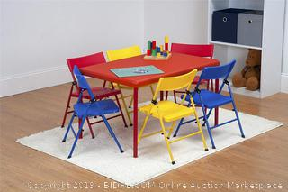 Cosco 7 Piece Children's Juvenile Set with Pinch Free Folding Chairs & Screw in Leg Table (online $120)
