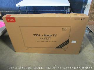 """TCL Roku 4K HDR TV 55"""" Smart damaged CRACKED SCREEN, Powers on See Pictures"""