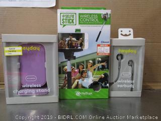 Heyday Wireless Charging Stand, Earbuds, Selfie Stick