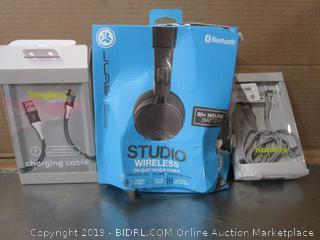 JLab Studio Wireless Headphones, Heyday Charging Cables